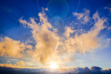 Beautiful scenic landscape with dramatic clouds and sunbeams of