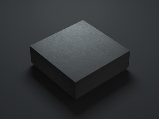 Square Black Box Mockup on dark background. 3d rendering