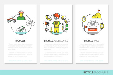 Bicycle and Biking Business Brochure Template with Thin Line Vector Icons