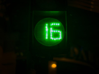 Street light numbers in the night. Low light photo.