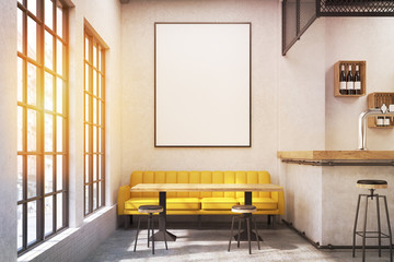 Cafe with a yellow sofa, toned