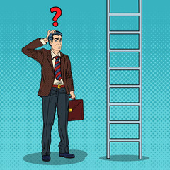 Pop Art Doubtful Businessman Looking Up at Ladder. Vector illustration