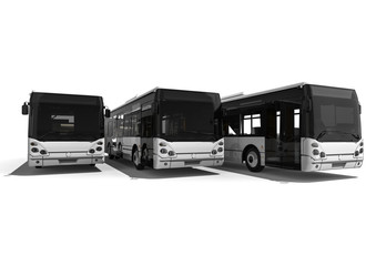 a fleet of buses / 3D render representing a fleet of buses