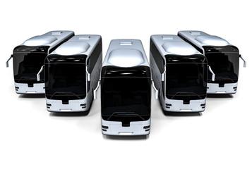 a fleet of buses / 3D render representing a fleet of buses