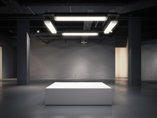 Modern gallery space with bright showcase. 3d rendering