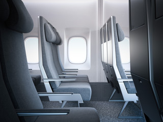Bright airplane seats in the cabin. 3d rendering