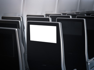 Blank aircraft monitor in passenger seat. 3d rendering