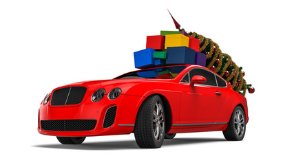 Santa Luxury Car / 3D render image representing a Luxury Santa car