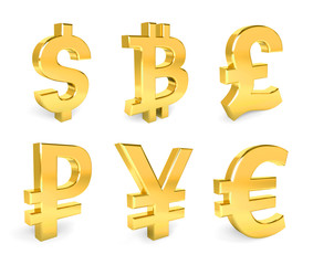 Dollar, Euro, Pound, Yen, Bitcoin, Ruble. Set of 6 currency 3d s