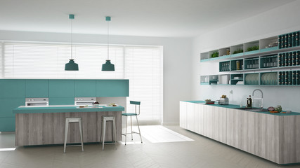 Scandinavian white kitchen with wooden and turquoise details, mi