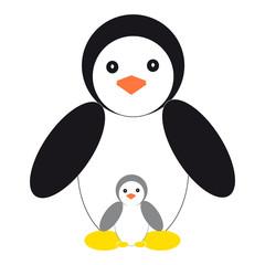 Penguins on white background