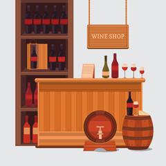 Illustration of a wine shop.