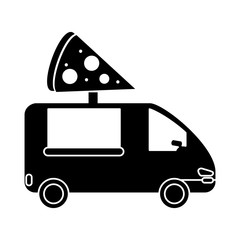 pizza delivery truck fast food pictogram vector illlustration eps 10