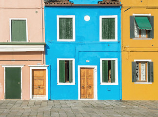 Colorful houses on the island of Burano are desired goal photographers - Venice, Italy