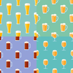 Set of seamless patterns with beer glasses. Vector texture.