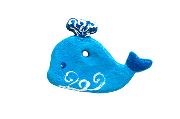 Toys made of salty dough. Blue whale