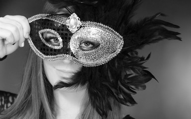 Sensual woman with carnival mask.