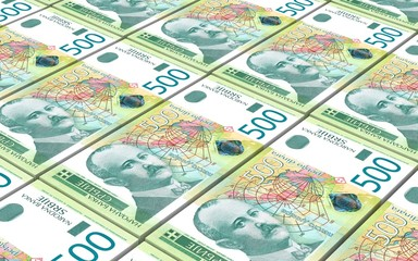Serbian dinar bills stacks background. 3D illustration.