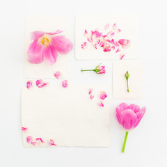 Flowers and paper cards. Flat lay, Top view