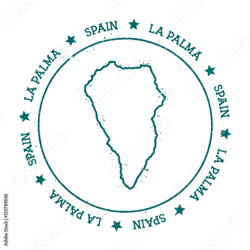 La Palma vector map. Distressed travel stamp with text wrapped ...
