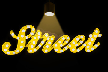 STREET - Glowing Neon Sign on black background