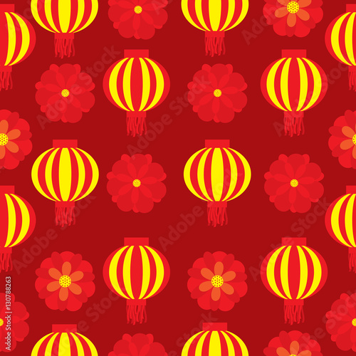 seamless background of chinese new year illustration with red flower and lampion lamp on red background