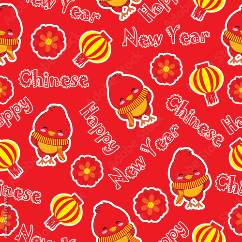 seamless background of chinese new year illustration with cute rooster and lampion lamp on red