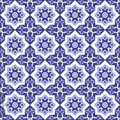Tiles Pattern Vector Talavera Traditional Seamless Tile With Portuguese Azulejos White