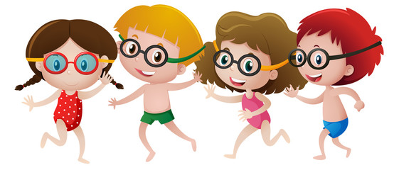 Four kids wearing swimming goggles