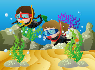Scene with two girls diving under the sea