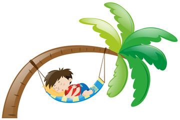 Little boy sleeping on hammock