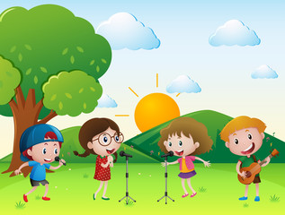 Scene with kids singing and playing music