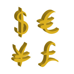 Gold set of main currency signs. Signs of dollar and yen, euro and pound. Vector illustration