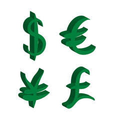 Green set of main currency signs. Signs of dollar and yen, euro and pound. Vector illustration