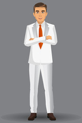 Businessman in white suits, with standing position, vector illustration