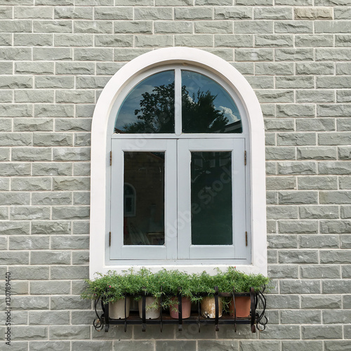 European Style Window With Brick Wall Background Stock