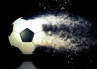 サッカーボールが蹴った勢いで粉砕するイメージ