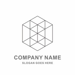 3D Geometric Hexagon Cube Tessellate Pattern Architecture Engineering Business Company Stock Vector Logo Design Template