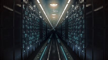 future computer server farm. 3d illustration