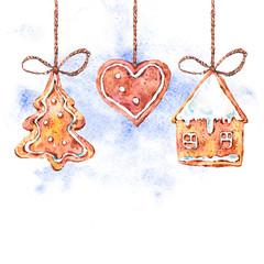 Watercolor sweet Christmas gingerbread cookies