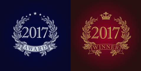 Awards 2017 vintage logo. The sign of winner for competitions 2017 in frame of the laurel branches arms. Best seller, film, actor, actress, writer, artist or journalist in new year reward symbol.