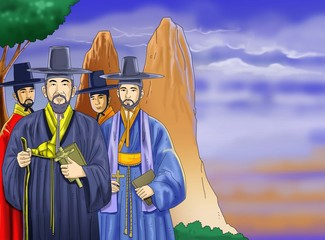 korean martyrs/  the character design for the Christian calendar or story books for children
