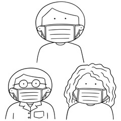 vector set of medical protective mask