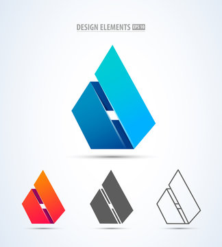 Vector abstract 3d drop logo design elements. Origami. Corporate identity. Design elements for corporate identity, cosmetics sign, app icon. Material design