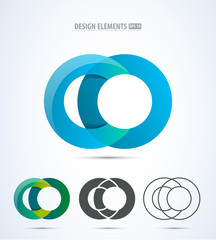 Abstract Letter C logo set. Vector graphic elegant impossible alphabet symbol in two colors and three styles.