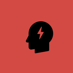lightning idea in head icon. flat design