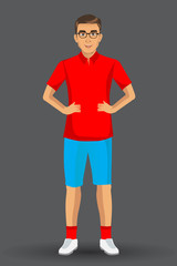 illustration of a young handsome man in sport uniform , with standing position.