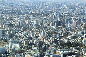 aerial view of Shinjuku district modern architecture,Tokyo, Japan