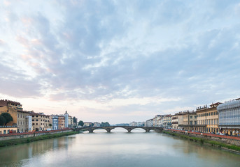 blue sunset clouds over Arno River in Florence