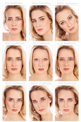 Nine portraits of young beautiful woman with various eyebrow styles on her face. How brows can transform the face. Eyebrows shaping, make-up, beauty.